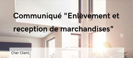 actu_communique-enlevement-reception-marchandises - VIT spécialiste du vitrage pour les professionnels